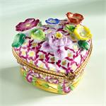 Limoges Museum Heart with 3D Flowers box